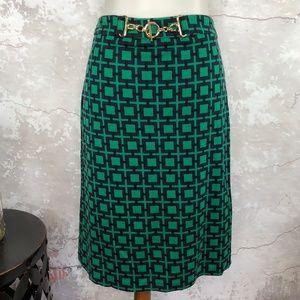 Talbots Geo Print Knit Blue Green Pencil Skirt NWT